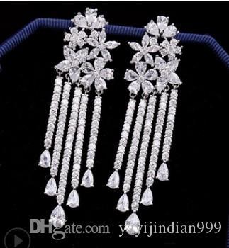 großhandel chaming r diamant kristall niedrigen preis hohe qualität 2 teile / lose frauen quasten ohrringe 37uy
