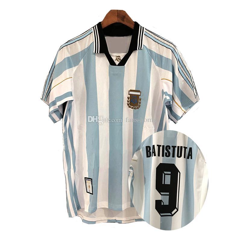 Retro version Argentina 1998 Home Soccer Shirt 98 Argentina BATISTUTA Short Sleeve Football Jersey National Team Customize Uniforms