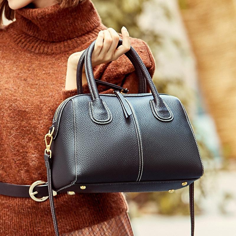 Hakiki deri bayan çantası Boston çanta liçi desen sığır derisi omuz çantası GN-SB-omlzzt