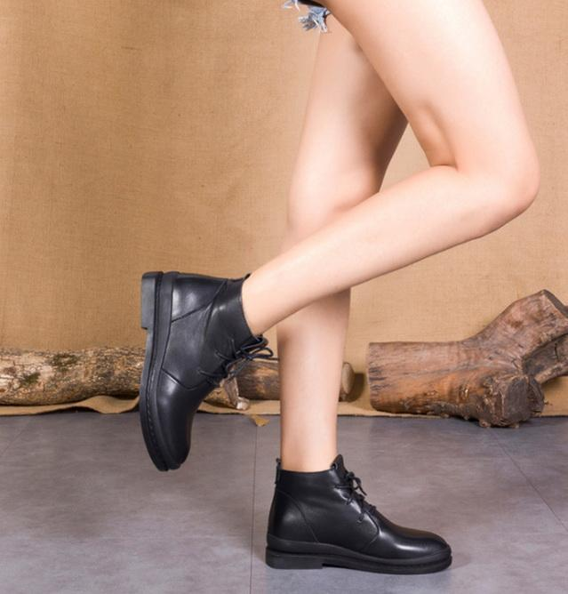 hakiki deri kadın martin bağcıklarını daire nakliye Sıcak satış-bot bağbozumu kaliteli moda ayak bileği patik size35-40