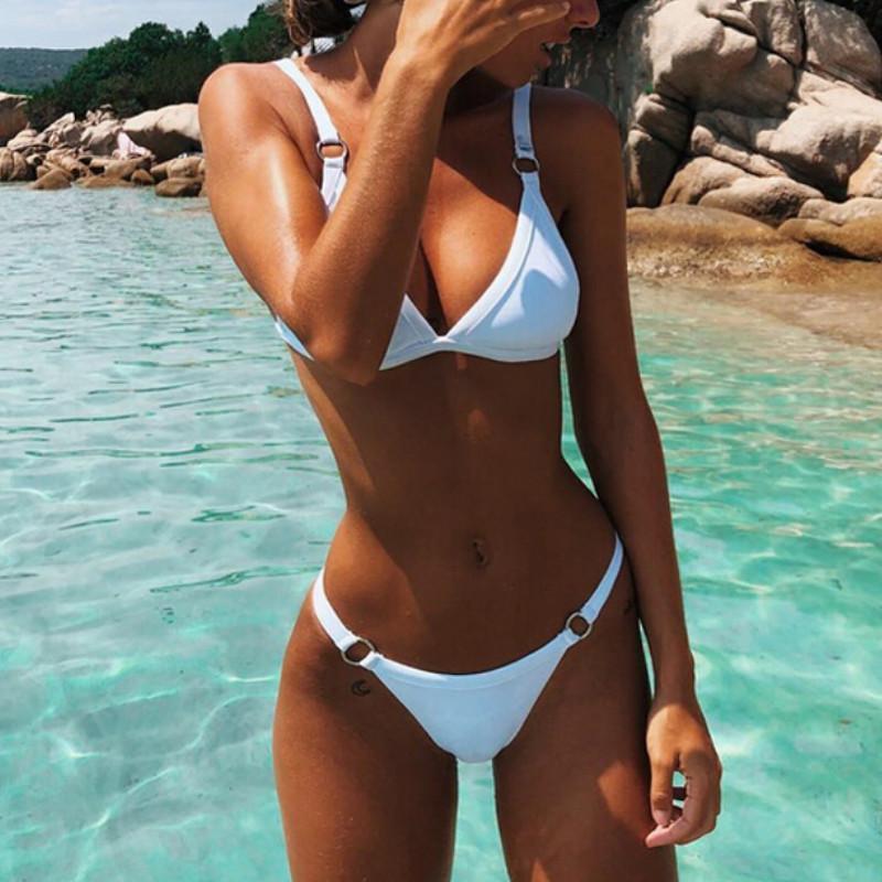 2019 Yeni Bayan İtme-up Yastıklı Bikini Seti Thong Üçgen Seksi Backless Katı Renk Mayo Mayo Yıkanma Brezilyalı Lot