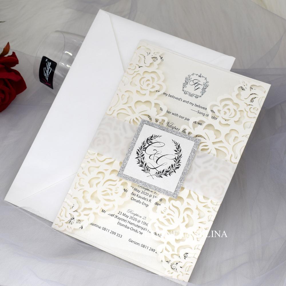 2020 convites New Creme Rose Shimmer Laser de corte para o chá de panela Wedding Engagement graduação aniversário, Printable Quinceanera