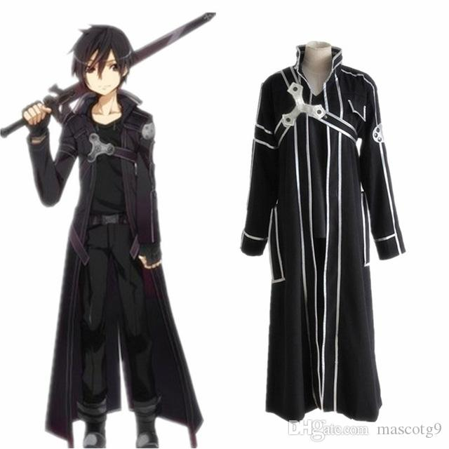 Sword Art Online Kirito Cosplay capa de traje en stock Anime Sword Art Online Kirito ropa de Cosplay