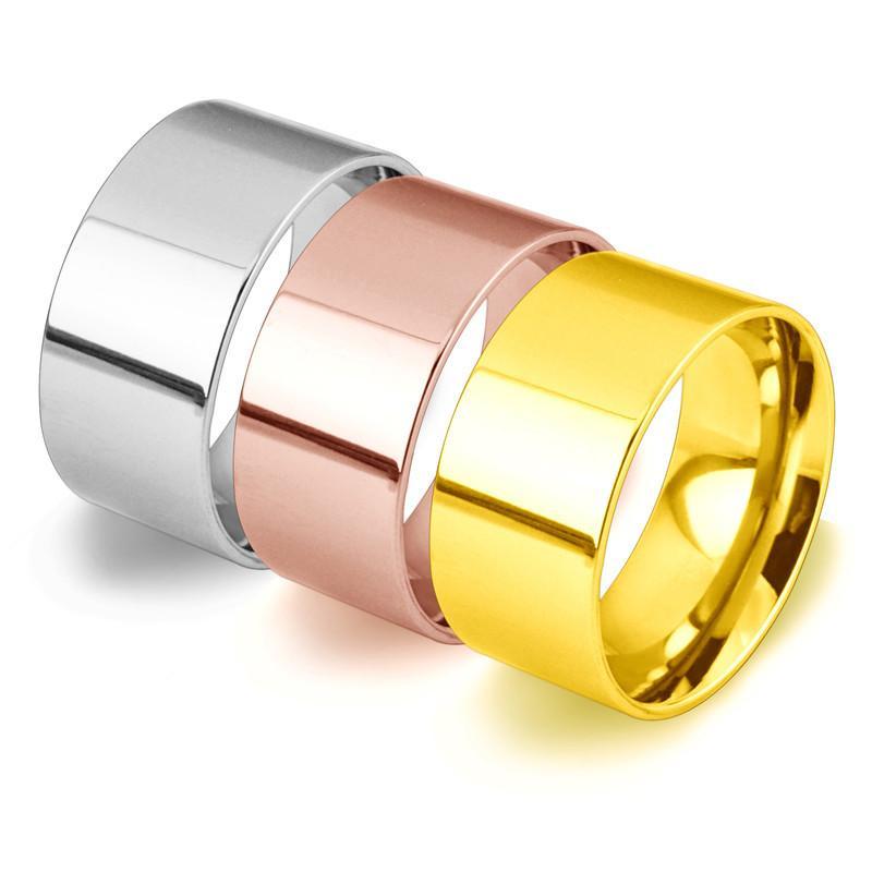 De la manera OL de acero anillo de titanio anillo ancho de gran tamaño de los hombres simples decoraciones Boutique