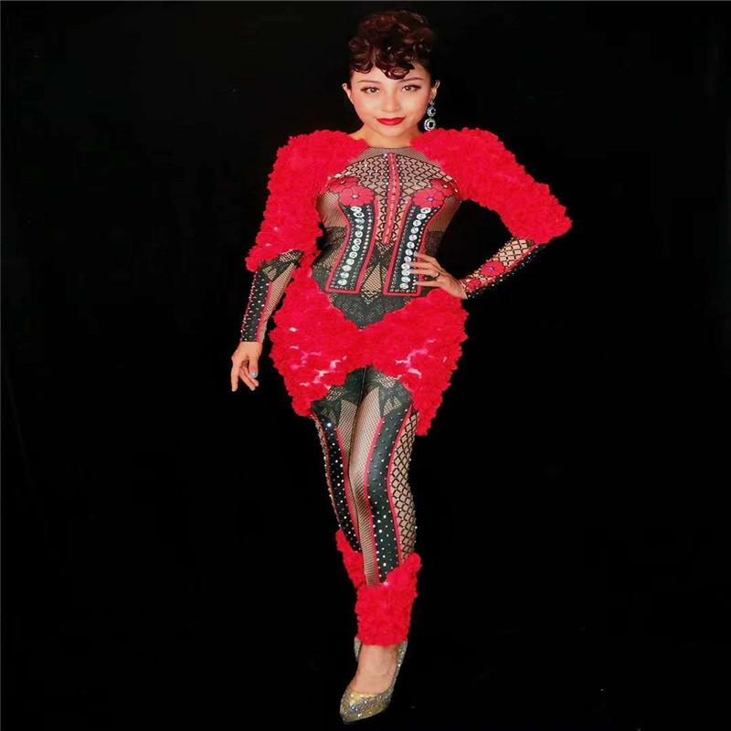 R78 Feminino vermelho sexy bodysuit cantor desempenho show de modelo vestido de macacão trajes de dança de flor fase usa roupas ds roupas dj rave music