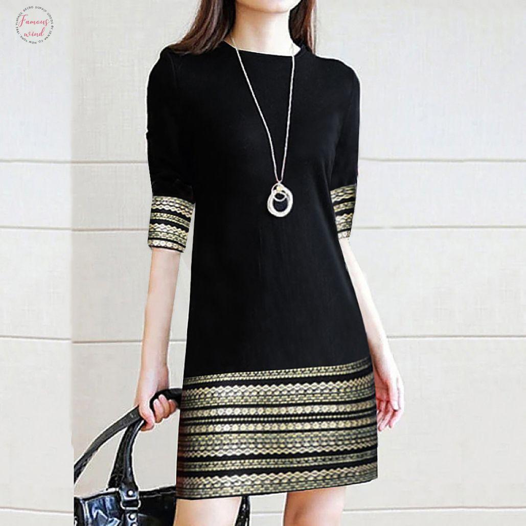 Fashion Womens Casual Vintage Elegant Splice Middle Sleeve Easy Mini Dress Elegant Robe Femme Robe Longue Femme Robe Vintage