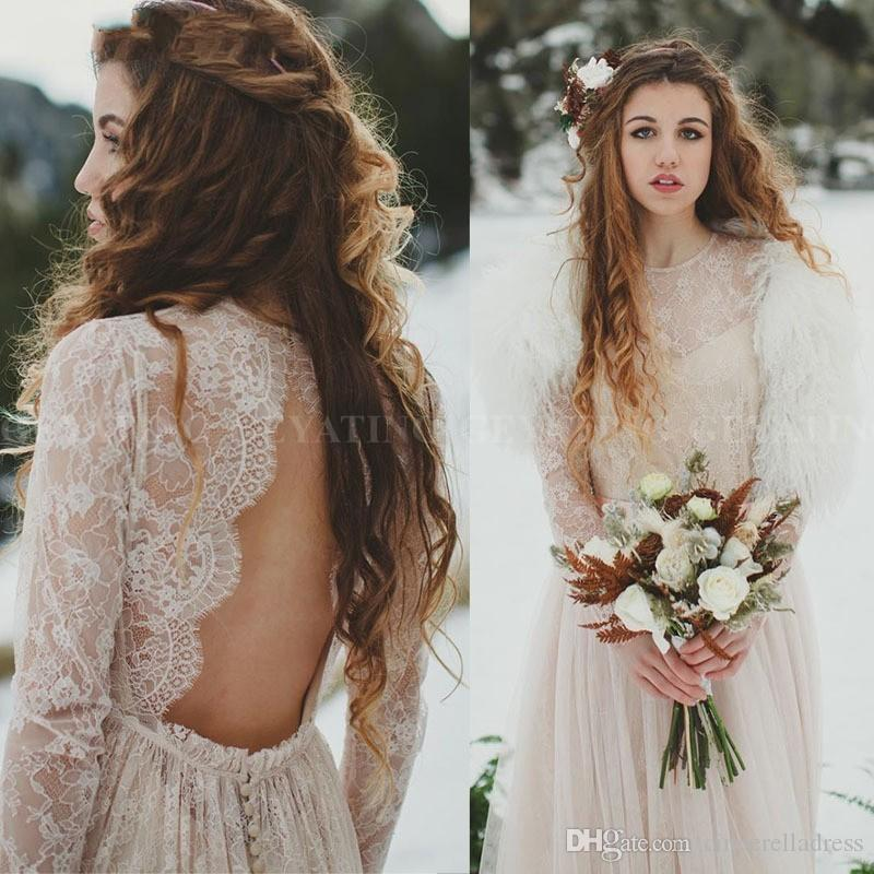Vintage Bobemian Lace Long Sleeves Wedding Dress 2020 Sexy Open Back Boho Beach Wedding Dresses Gypsy Hippie Bridal Gowns