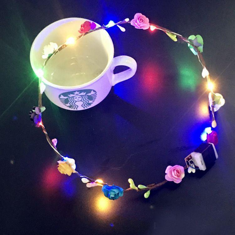 Flashing LED strings Glow Flower Crown Headbands Light Party Rave Floral Hair Garland Luminous Wreath Wedding Flower Girl kids toys