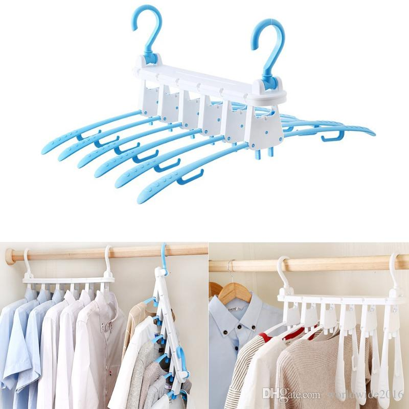 New Creative Rotary Multi Functional Magic Hanger Plastic Folding Magic Changeable Storage Clothes Rack 6 in 1 Clothes Rack Telescopic HJ195