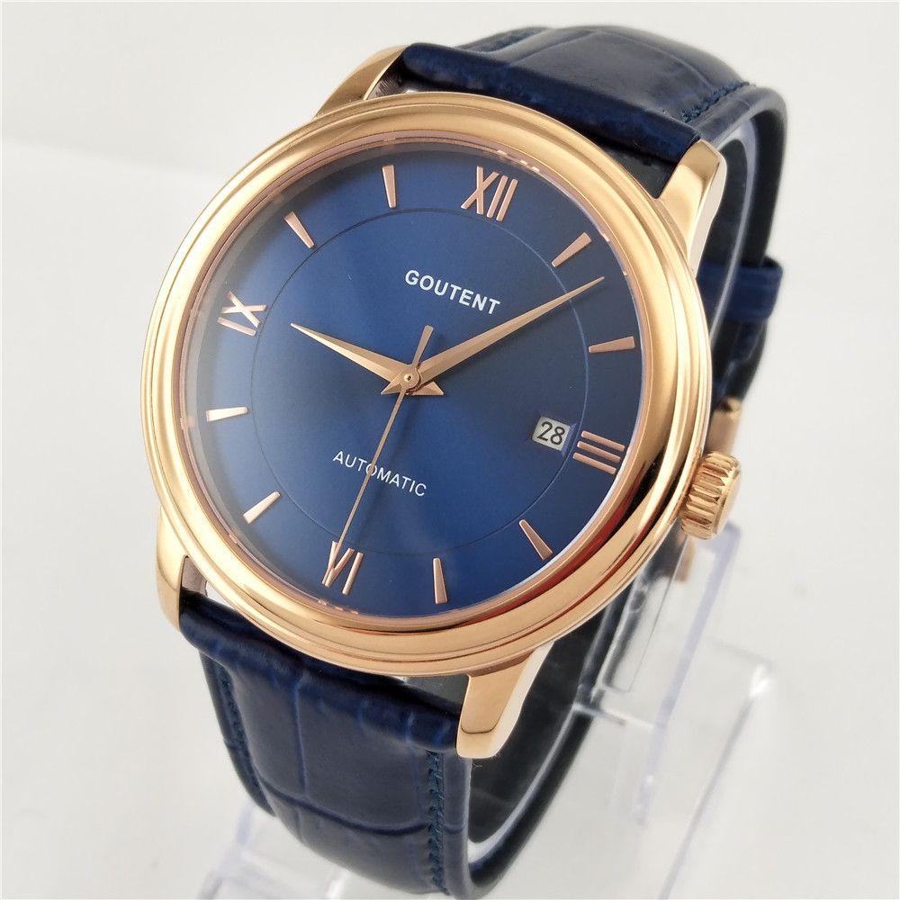 Goutent/стерильный 40 мм синий циферблат сапфировое розовое золото корпус из нержавеющей стали Miyota автоматические механические мужские наручные часы 2837