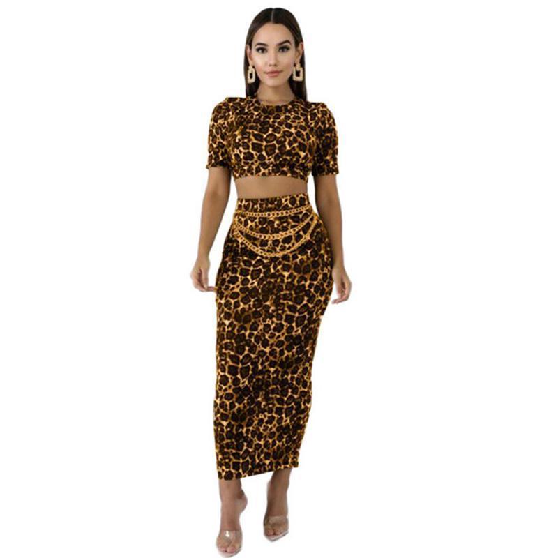 가을 레오파드는 우아한 운동복 S-XL 설정 스커트 여성 S 세트 긴 소매 짧은 티 Bodycon 미디 맥시 스커트 정장 투피스 인쇄하기