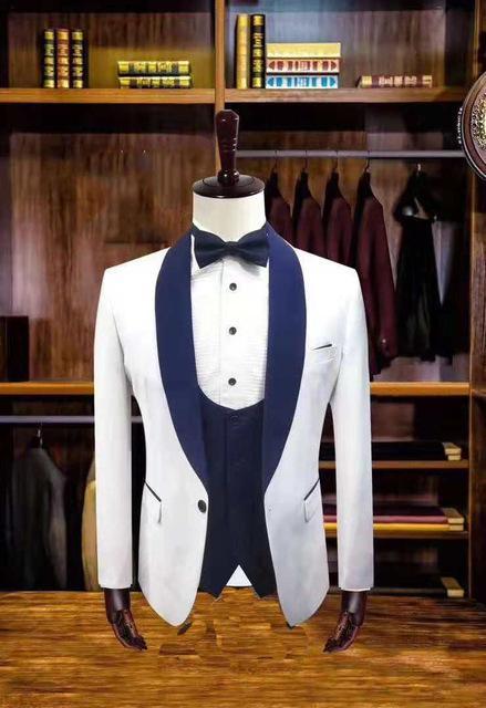 Les hommes de mariage Costume Slim Fit Tuxedo Groom Groomsmen Terno Masculino Costume Veste Pantalon Gilet 3 Set Pieces Gala Prom Party Blazer