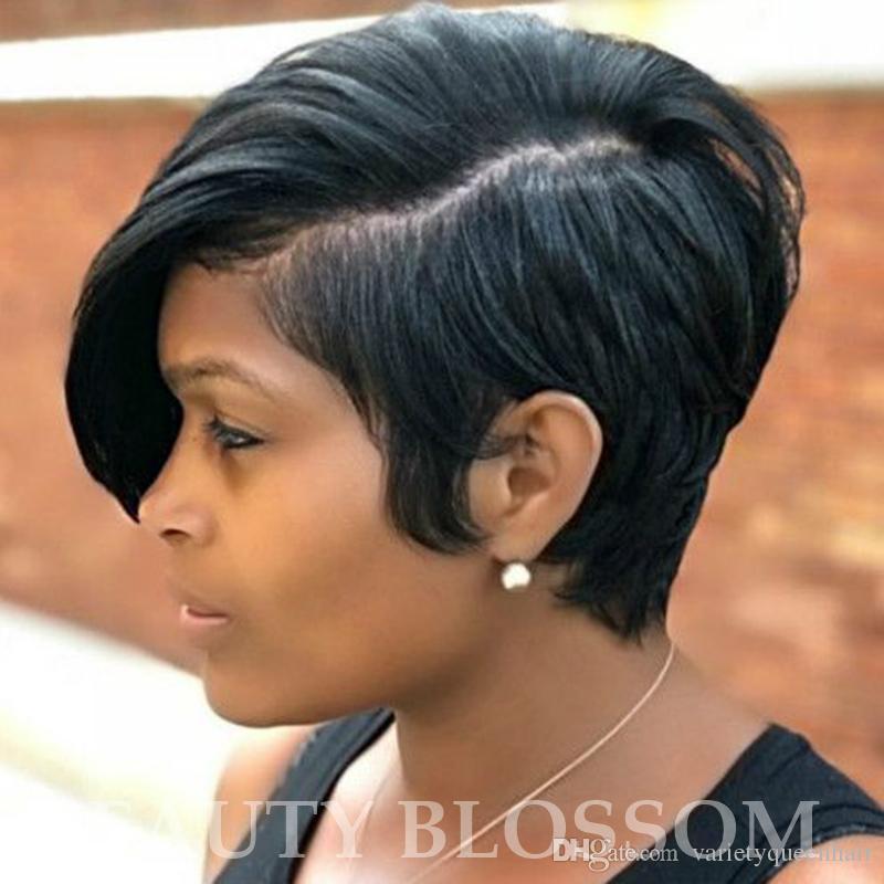 Doğal düz Kısa küçük Dantel Ön İnsan Saç Peruk Siyah Kadınlar için Brezilyalı Bakire Saç Dantel Ön Peruk Yan Kısmı
