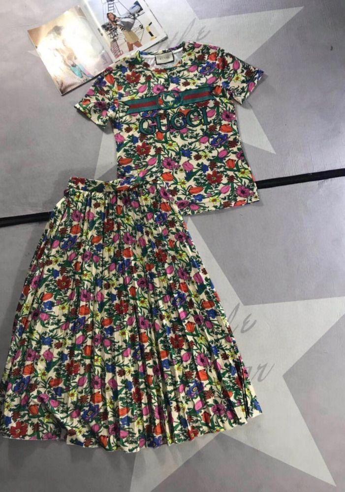 2020 neue Frauen passen Retro-Stil Mode mit Futter 031401 T-Shirt + gedruckt Rockklage gedruckt
