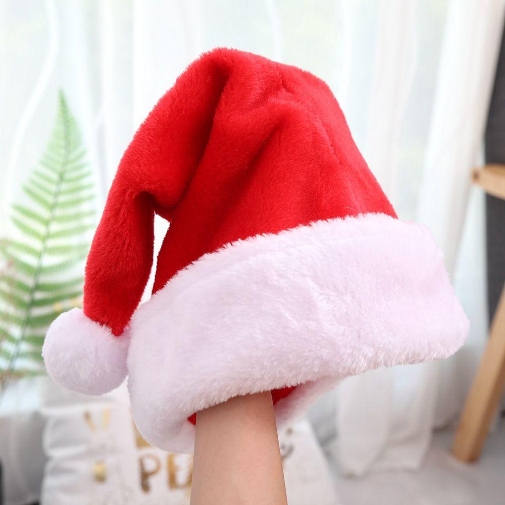 decorações de Natal de alta qualidade curto pelúcia Natal chapéus bolas grandes engrossado chapéus idosos bonés Clássico