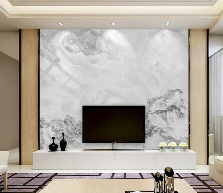 El paisaje blanco con textura de mármol mural 3D encargo de la foto del papel pintado de la pared de fondo de la pintura mural de la sala de estar Sofá TV del dormitorio del contexto