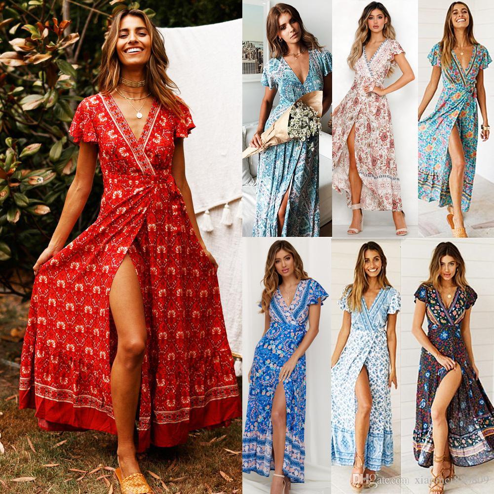 المرأة بوهو الأزهار طويلة فستان ماكسي الخامس الرقبة الأزهار انقسام اللباس الصيف شاطئ الفخذ الزمني