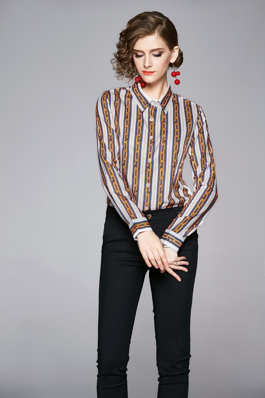 2020 ilkbahar yaz Güz pist Vintage zincir baskı Yaka düğmesi ön Uzun kollu kadın Bayanlar rahat Ofis Işleri Ol gömlek bluz Tops