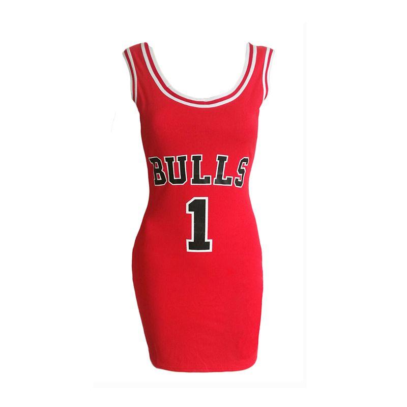 2019 Mulheres letra E Bulls Imprimir Sporting Verão Vestido Cut Jersey Acima do joelho Comprimento Black Red White Túnica Vestidos Estilo Vestidos MX19070304
