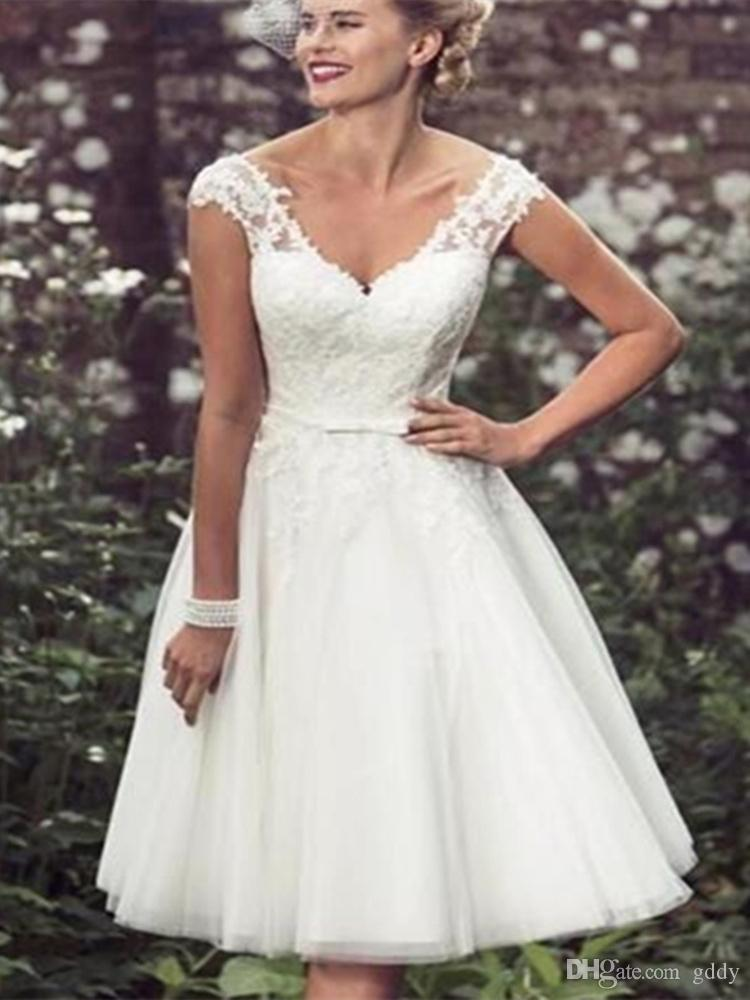Discount 2019 New Plus Size Wedding Dresses Short Half Sleeves Wedding  Gowns White Lace Covered Button Beach Dress Tea Length A Line Wedding Gowns  ...