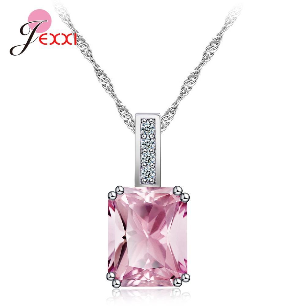 2019 élégant argent 925 Cubic Zircon Pendentif Colliers Femmes Bijoux Carré Design Bijoux en cristal cadeau d'anniversaire