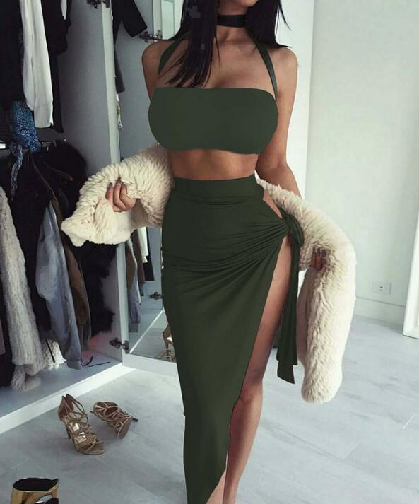 20ss nuevos mujeres del verano del vestido del club nocturno sujetador sección larga de color sólido de la transfronteriza atractivo del vestido de Split-yoi vestido de las mujeres de moda