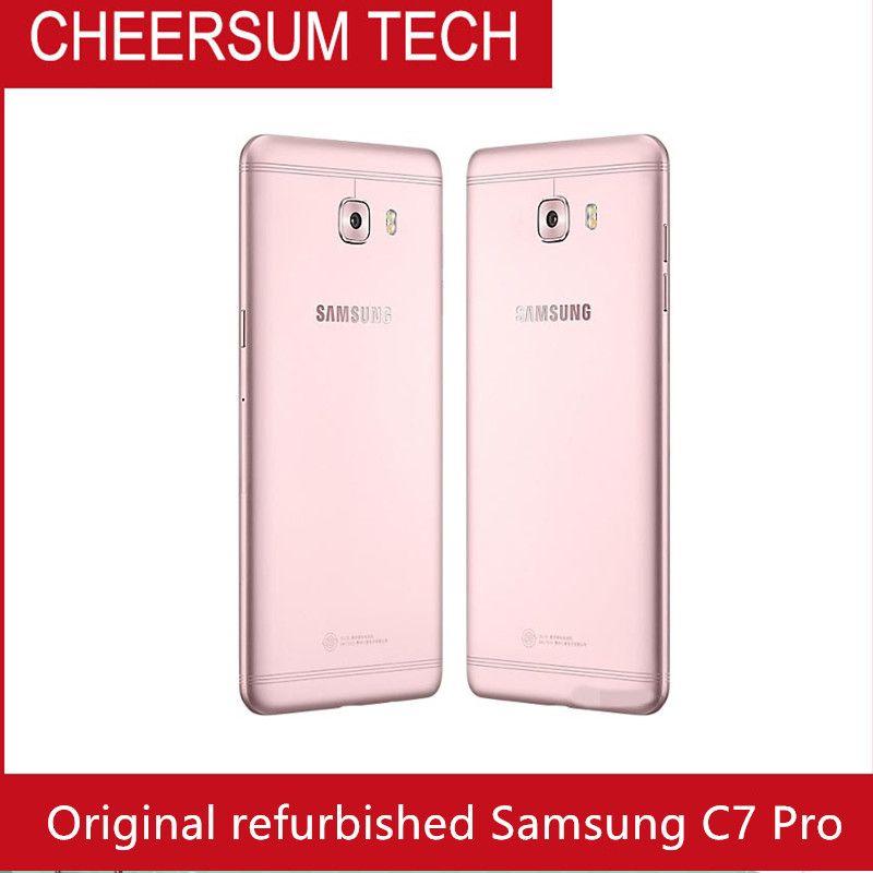 Восстановленное Оригинал Samsung Галактики С7 про C7010 5,7-дюймовый Окта основные 4Gb оперативной памяти 64 Гб ROM две SIM-16МП 3300 мАч и 4G LTE смартфон