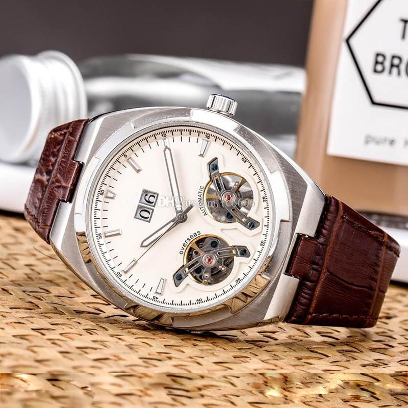 High-end luxury watch men mechanical automatic watch double flywheel design leather strap calendar display Men's Sport Watches wristwatches