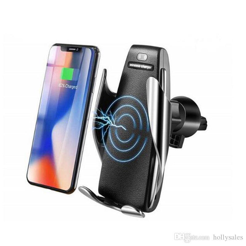 10W Q1 무선 자동차 충전기 S5 자동 클램핑 빠른 화웨이 삼성 LG ONE PLUS XR 아이폰 자동차에서 전화 홀더 마운트를 충전