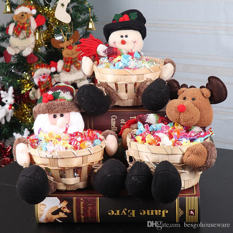 Netter Weihnachtszuckerspeicherbambuskorb Weihnachtsgeschenk Desktop-Süßigkeit Teller Dekoration Weihnachtsmann-Süßigkeit-Speicher-Korb Prop Ornament BH2433 ZX