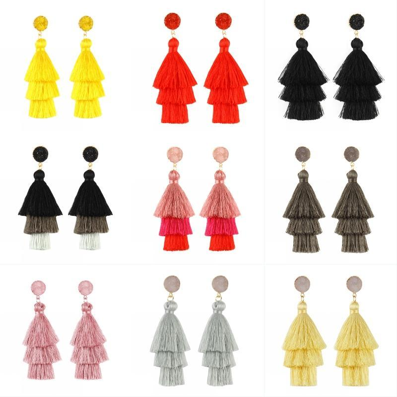Multi Colors Tassel Earrings Layered Tiered Linear Drop Fashion Trending Handmade Earrings for Women Party Wedding Christmas Jewelry