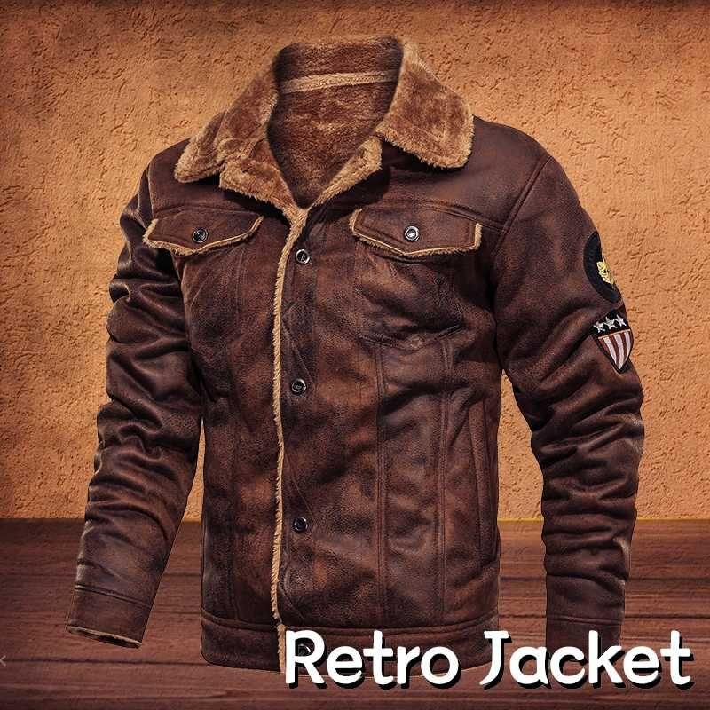 Hommes Rétro Veste style vintage en cuir suédé Veste Automne Hiver velours intérieur Fur Lined Motorcycle Plus Size Lapel 4XL