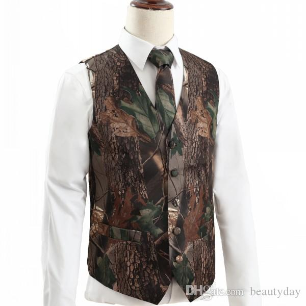 2019 do casamento do estilo New Camo Groom Coletes Hunter País Realtree Primavera Camouflage Mens Traje Vest 2 piece set (Vest + Tie) Custom Made