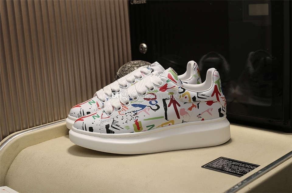 Plate-forme hombre del diseñador plataforma pintada de lujo y para mujer de los zapatos del diseñador de la vendimia de moda de alta calidad con blanco caja de zapatos
