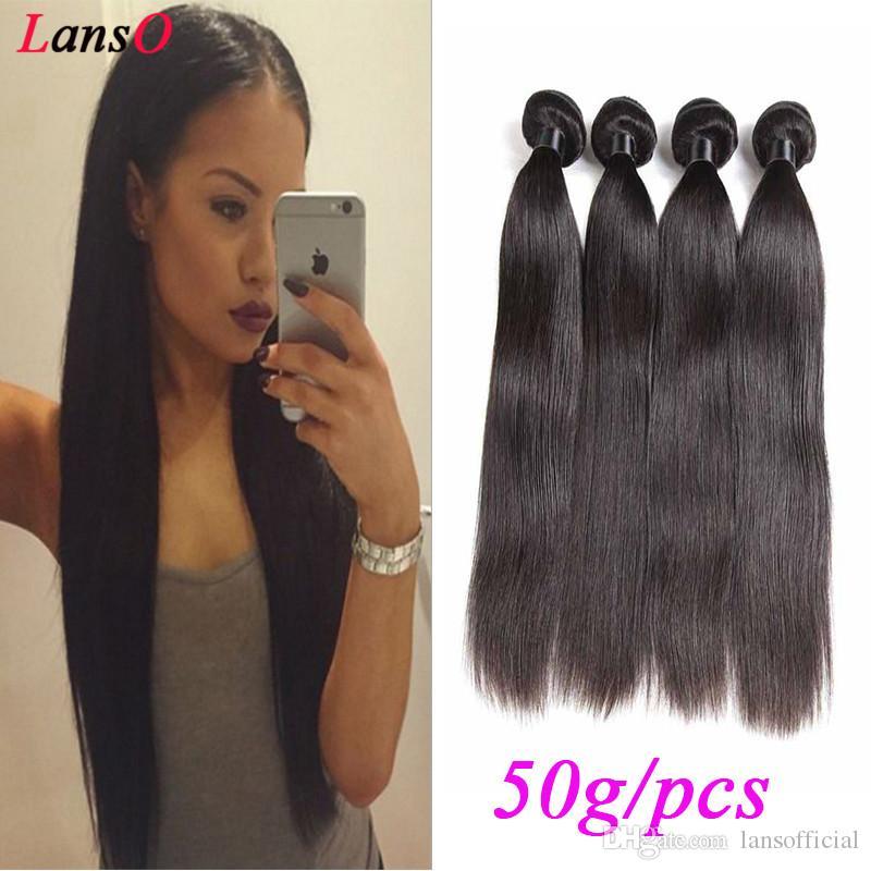 Remy Virgin Brésilien non transformé cheveux raides Tissages Extensions cheveux naturels Couleur 50 g / paquet Double Trames Malaisie Cheveux