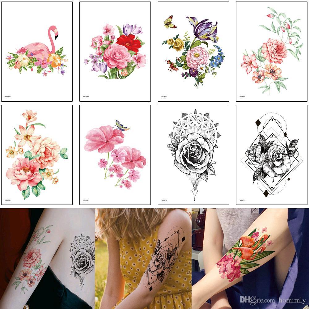 Arm Tattoo for Woman Girl Body Art Sticker Flamingo Rose Flower Butterfly Decal Design Waterproof Temporary Water Transfer Sleeve Tattoo DIY