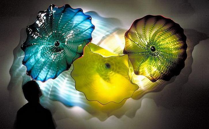 Клиент сделал настенные художественные муранские стеклянные пластины Foleded Shape Circled Pattern Wall Plates Multi Color для камина