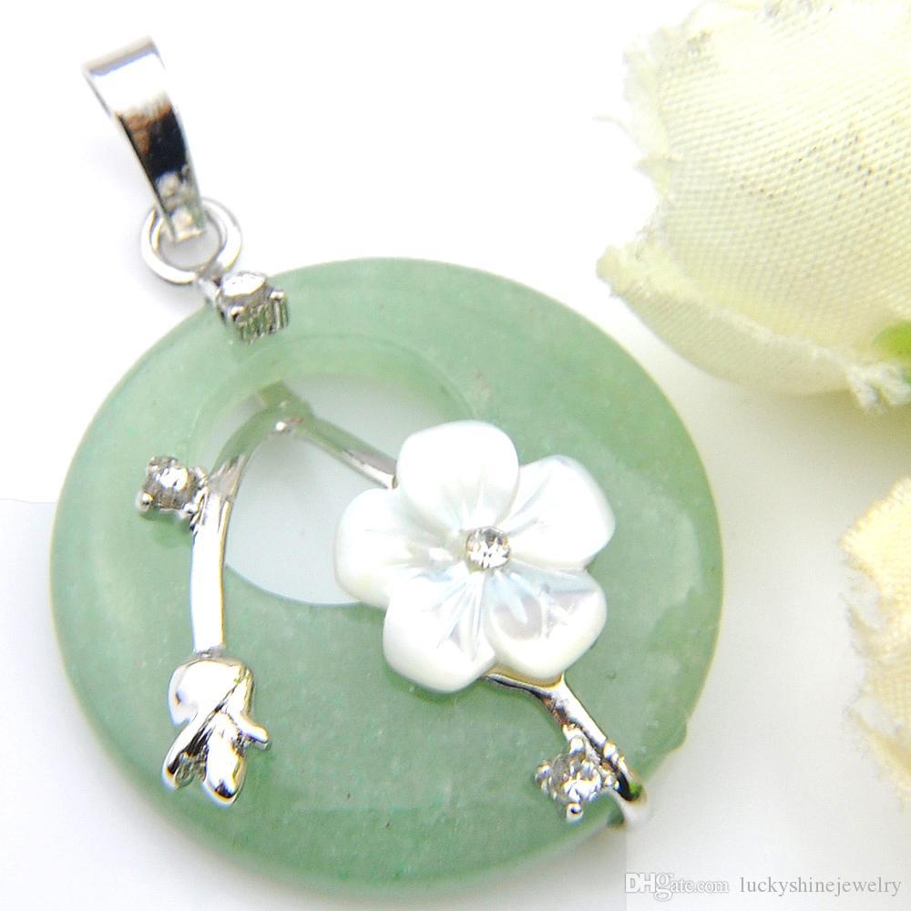 LuckyShine를 들어 여성 천연 보석 빈티지 녹색 동령 매화 꽃 펜던트 목걸이 유럽 인기 크리스탈 보석