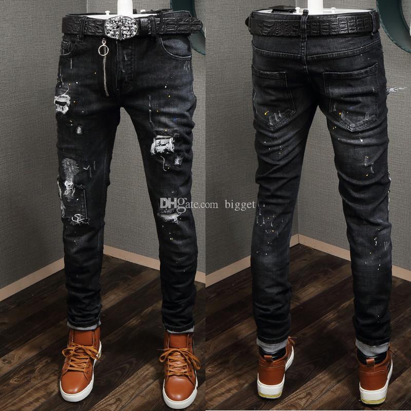 Nero danneggiati Jeans afflitto annata velatura Platters cicli della fascia bottoni Logo Patch Slim fitness Denim Pantaloni uomo