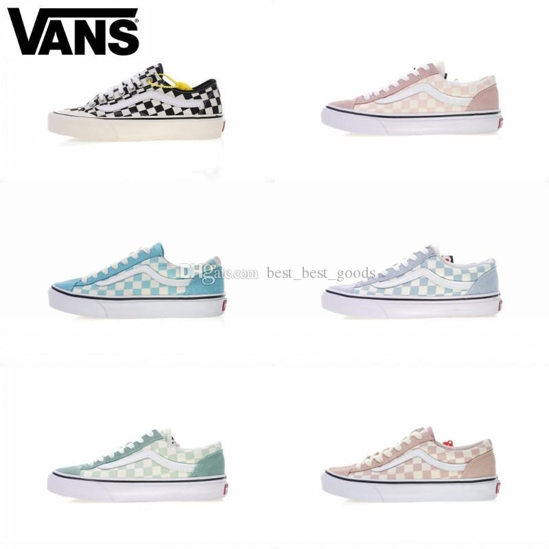 2019 Brand 2019 Vans Old Skool Sk8 Hi Mens Womens Canvas Sneakers Black White Red YACHT CLUB MARSHMALLOW Fashion Skate Casual Shoes Size 36 44 From