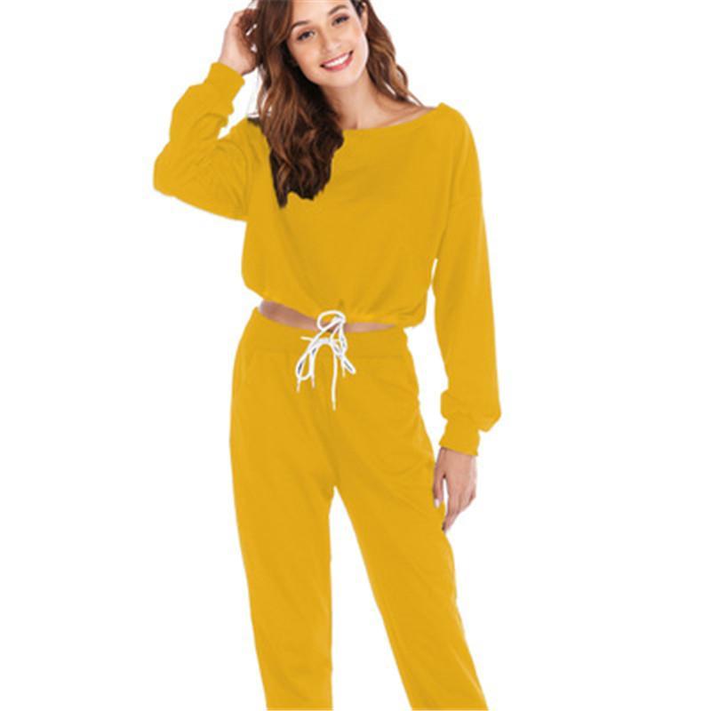 여자 니트 운동복 긴 소매 O 목 스웨터 레이스 허리 포켓 하렘 바지 한국어 2PCS 캐주얼 여성 두 조각 의상을 설정합니다