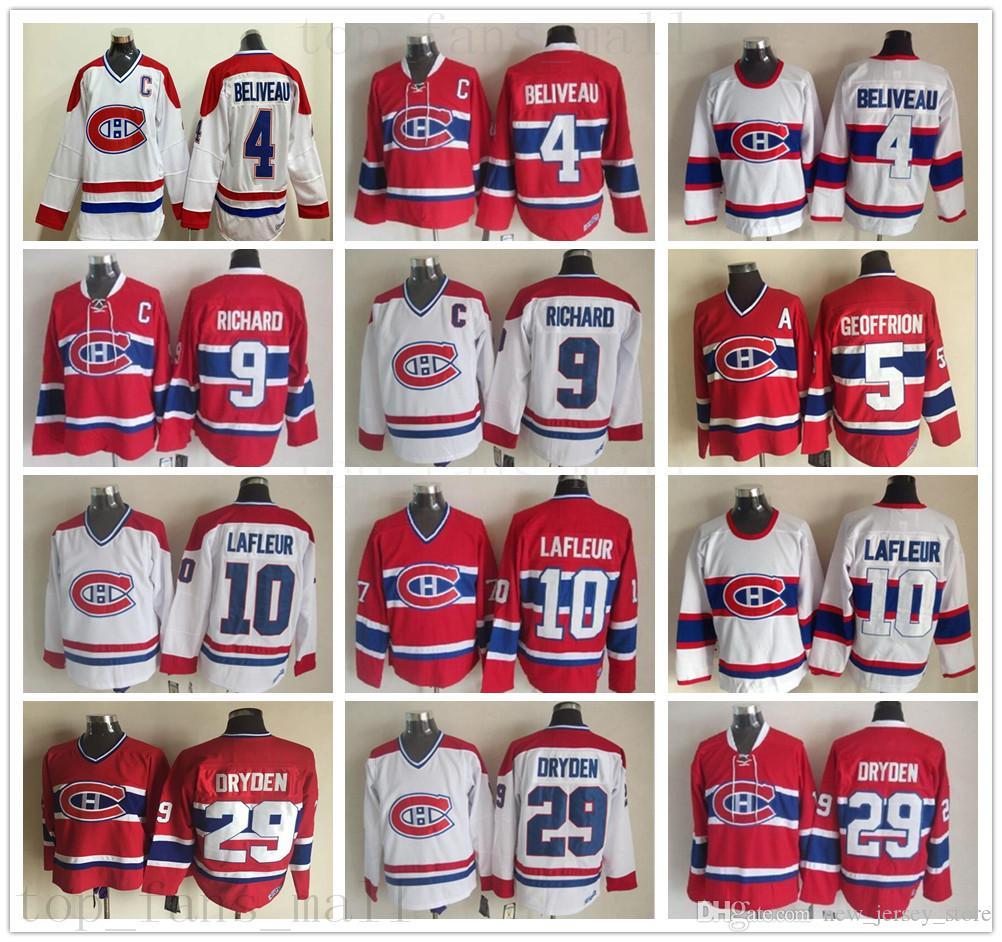 Vintage CCM Montreal Canadiens Hóquei no Gelo 4 Jean Beliveau Jersey 10 Guy Lafleur 9 Maurice Richard 29 Ken Dryden 5 GEOFFRION Jersey