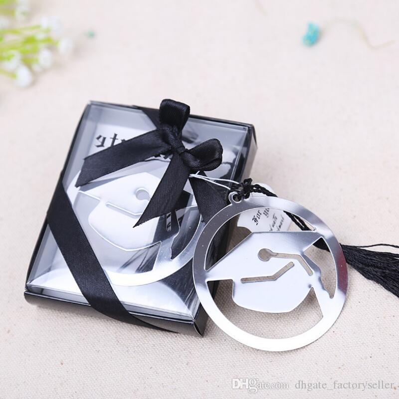 Graduation Cap Metal Bookmark With Elegant Black Tassel Party Souvenirs Graduate Party Faovr Gifts For Guest LX7886