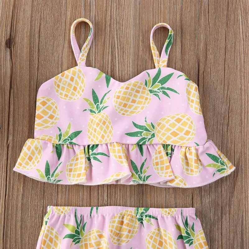 1-5Years bonito criança Crianças Bebés Meninas Swimsuit abacaxi Impresso Bikini maiô 2pcs Set Swimwear