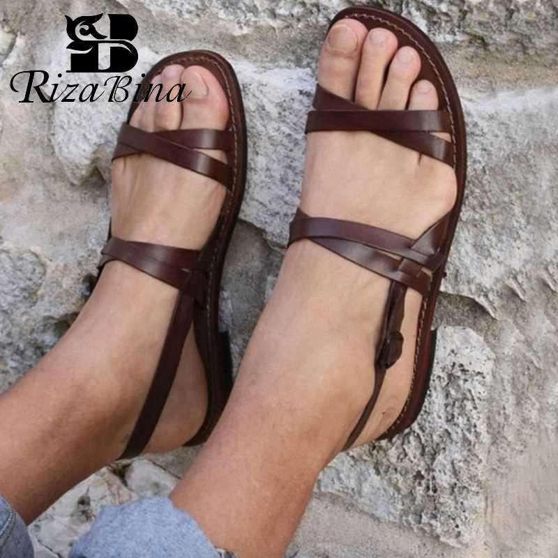 RIZABINA Dropshipp Mulheres Casuais Apartamentos Sandálias 2019 Sapatos de Praia Verão Moda Feminina Preto Marrom Plano Calçado Tamanho 35-43