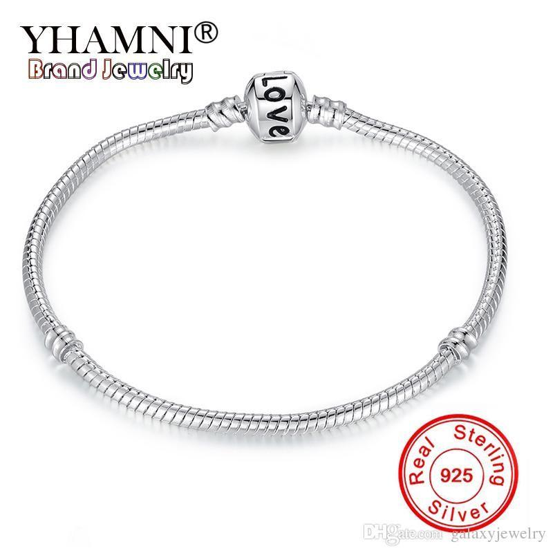 YHAMNI New Design Solid Silver Snake Chain Original Charm Bracelet With Love Stamped Charm Bead Bracelet For Women 16-23CM HB520
