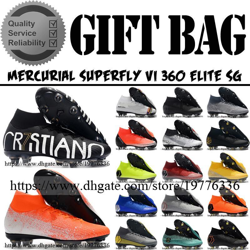 High Tops Mercurial Superfly VI 360 Elite SG Spikes Soccer Football Boots Cristiano Ronaldo CR7 Neymar Socks Soccer Cleats Shoes Mens 6.5-12