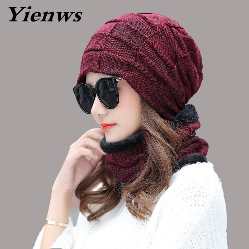 Yienws Kadınlar Kış Şapka Örgü Şapka Eşarp Seti Beanie Kadın Boyun Isıtıcı İlkbahar Beanies Şapka Kayak Kadın Rus YIC557 T191030 Caps Maske