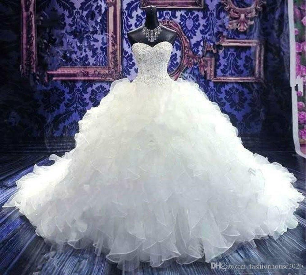 2020 Cheap Luxury Embroidery Ball Gown Wedding Dresses Princess Corset Sweetheart Organza Ruffles Cathedral Train A Line Bridal Gowns Cheap