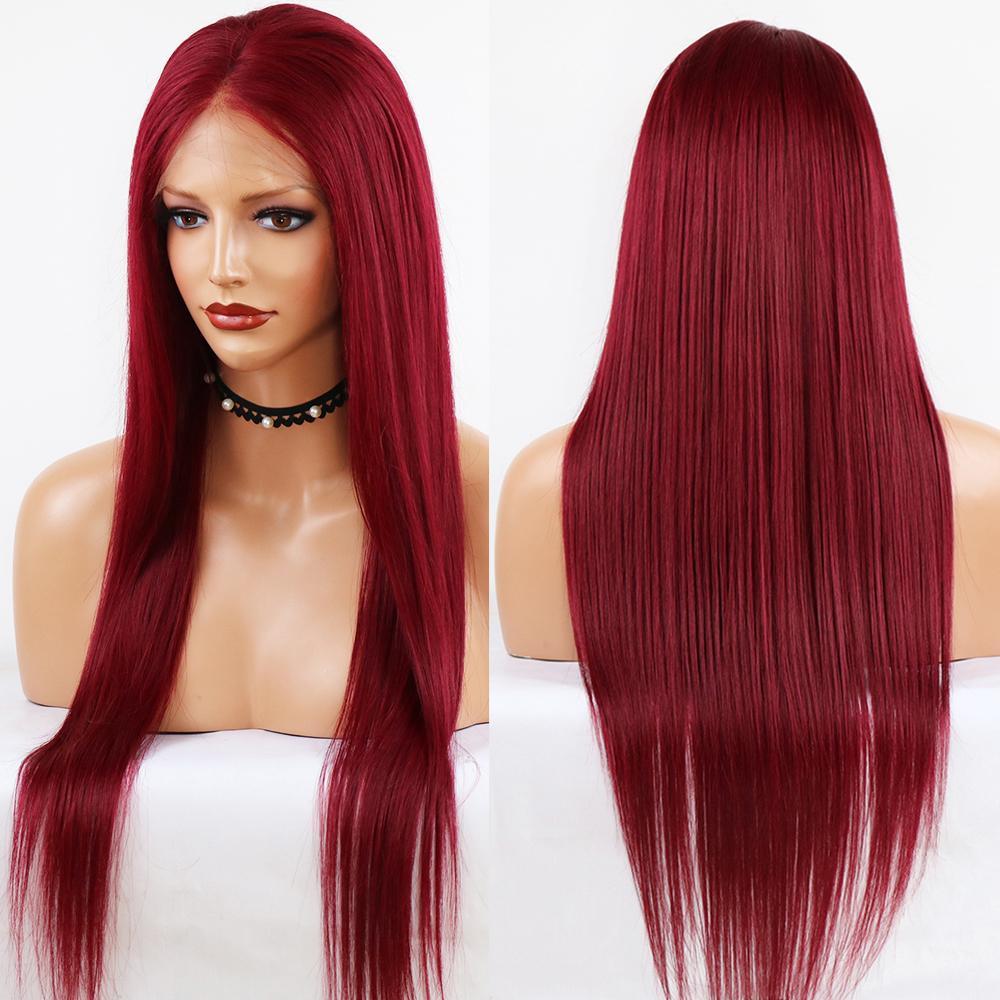 Glueless Длинные прямые 99J 13x4 фронта шнурка человеческих волос Парик Pre Сорванные с ребенком волос Красный Цвет волос Remy бразильянина